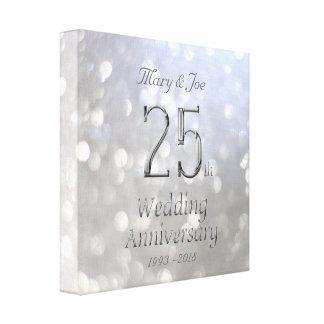 Impressão Em Tela 25o Tipografia de Bokeh da prata do aniversário de