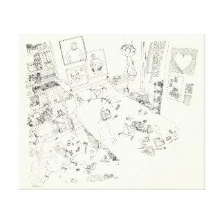 Impressão Em Tela A lápis engraçado arte da confusão do quarto dos
