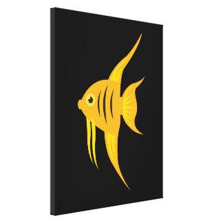 Impressão Em Tela AngelFish corajoso e bonito no preto