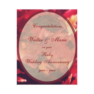 Impressão Em Tela Aniversário de casamento customizável do rubi