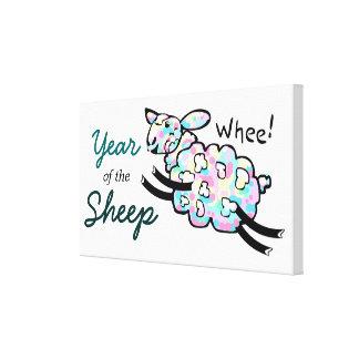 Impressão Em Tela Ano feliz colorido dos carneiros do pulo Whee de