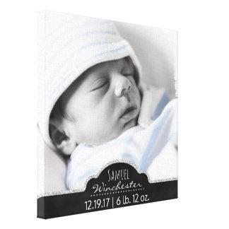 Impressão Em Tela Anúncio moderno do nascimento da foto do bebê do