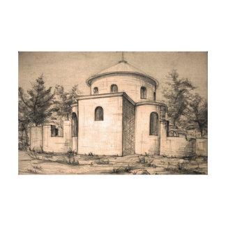 Impressão Em Tela Arte antiga do lápis da igreja cristã da