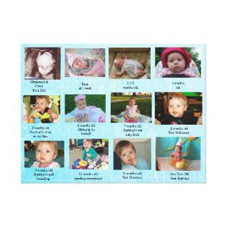 Impressão Em Tela Arte da foto do bebê do ano da progressão da idade