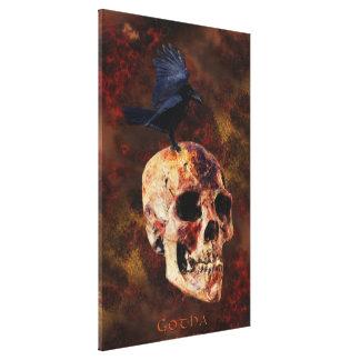Impressão Em Tela Arte escura do corvo & do crânio de Gotha por