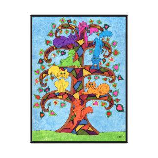 Impressão Em Tela Árvore do gato do mosaico de vida