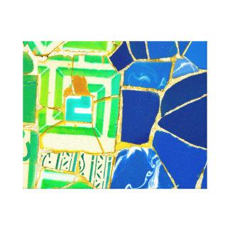 Impressão Em Tela Azulejos verdes de Parc Guell do mosaico na