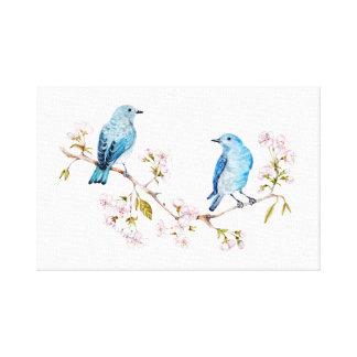 Impressão Em Tela Bluebirds da montanha no ramo de Sakura