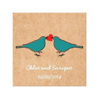 Impressão Em Tela Bluebirds e casamento do coração do amor