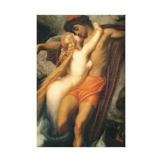 Impressão Em Tela Casal bonito da sereia no ser humano & na sereia