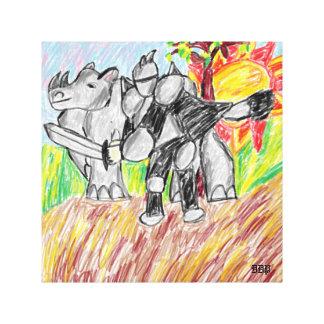 Impressão Em Tela cavaleiro e rinoceronte