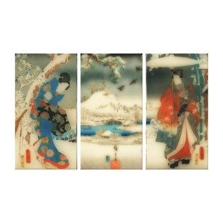Impressão Em Tela cena do inverno - triptych japonês da arte do