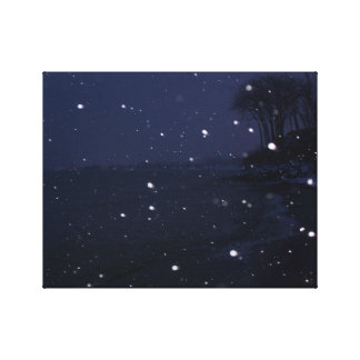Impressão Em Tela Cena nevado da praia no crepúsculo