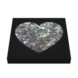 Impressão Em Tela Coração de prata colorido Sparkly customizável do