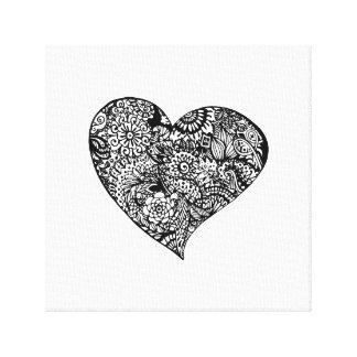Impressão Em Tela Coração preto decorativo