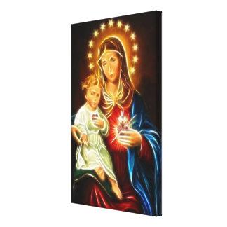 Impressão Em Tela Coração sagrado de Jesus da Virgem Maria e do bebê