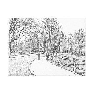 Impressão Em Tela Desenho de lápis de Amsterdão nevado em Países