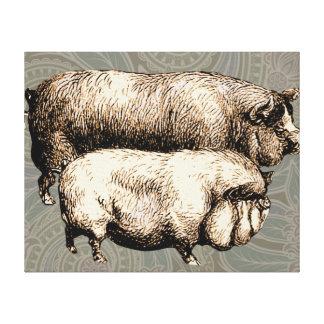 Impressão Em Tela Desenho leitão do vintage antigo dos porcos