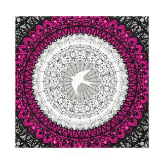 Impressão Em Tela Design branco delicado da mandala do laço