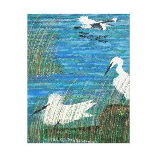"""Impressão Em Tela Egret """"estuário """" nevado do branco"""