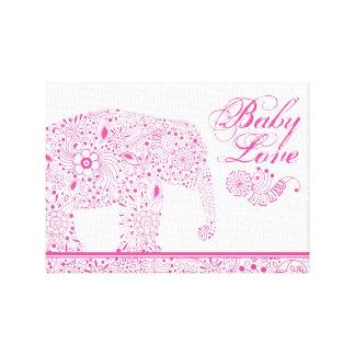 Impressão Em Tela Elefante cor-de-rosa do bebê de Mehndi