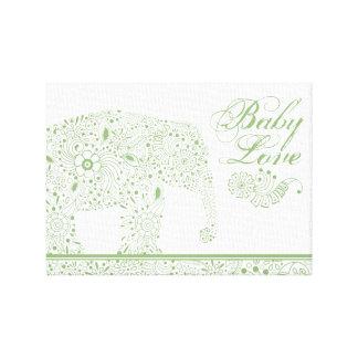 Impressão Em Tela Elefante verde do bebê de Mehndi