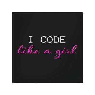 Impressão Em Tela Eu codifico como uma menina