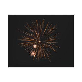 Impressão Em Tela fogos-de-artifício alaranjados no fundo preto