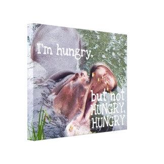 Impressão Em Tela Foto com fome engraçada do Hippopotamus das