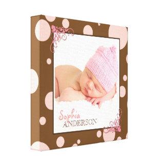 Impressão Em Tela Foto cor-de-rosa chique do bebê das bolinhas