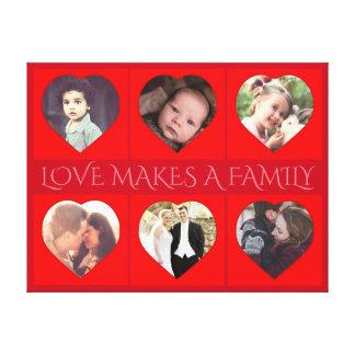 Impressão Em Tela Foto de família dada forma coração personalizada
