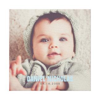 Impressão Em Tela Foto do nome do bebê azul