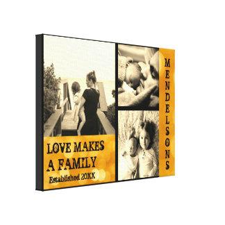 Impressão Em Tela Foto e nome de família feita sob encomenda com