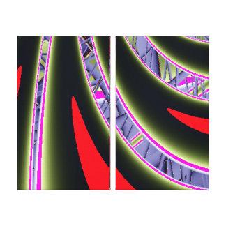 Impressão Em Tela Fractal vermelho e preto
