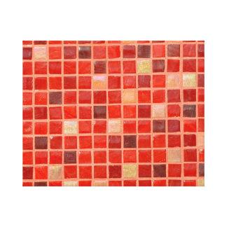 Impressão Em Tela Fundo vermelho do azulejo de mosaico