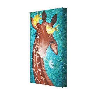 Impressão Em Tela Girafa bonito com pintura dos pássaros