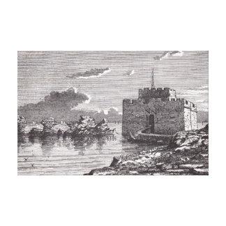 Impressão Em Tela Gravura do século XIX do forte medieval de Paphos
