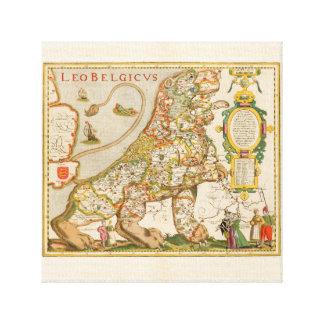 Impressão Em Tela Great Old Map of Belgium (Year 1617)