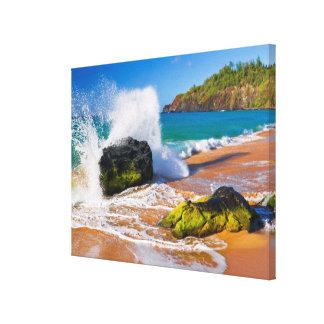 Impressão Em Tela Impacto na praia, Havaí das ondas