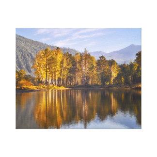 Impressão Em Tela Lago mirror no outono
