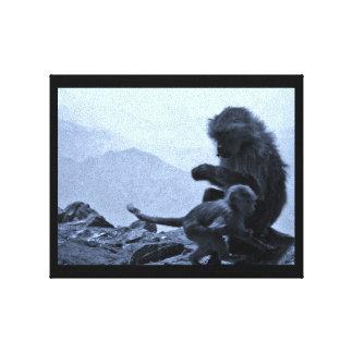 Impressão Em Tela Mamã e bebê do macaco