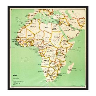 Impressão Em Tela Mapa de África (1966)