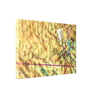 Impressão Em Tela Mapa de Las Vegas