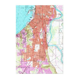 Impressão Em Tela Mapa do vintage de Everett Washington (1953)