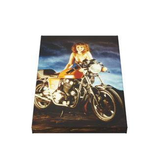 Impressão Em Tela Menina e motocicleta