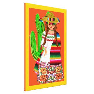 Impressão Em Tela Menina mexicana bonito de BooPooBeeDoo