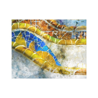 Impressão Em Tela Mosaicos do banco de Parc Guell na espanha de