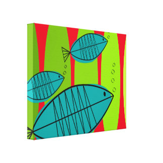 Impressão Em Tela Natação artística moderna de 3 peixes do meio