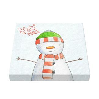 Impressão Em Tela Natal bonito do boneco de neve da alegria e da paz