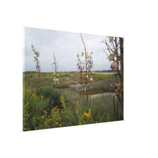 Impressão Em Tela Nuvens da praia e Wildflowers - ilha do carvalho,